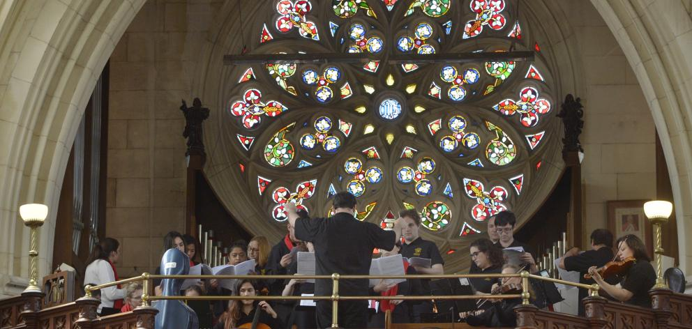 Members of Sydney-based ensemble Artes Christi perform Haydn's Missa Nicolai during a midday Mass...