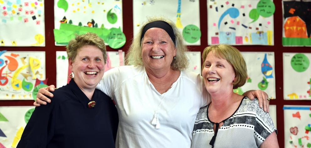 Retiring Tainui School teachers (from left) Ruth Harley, Kaye Ballantyne and Jenny Tavendale will...