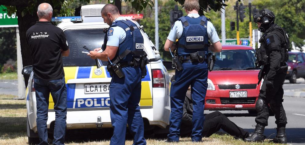 Police, including a member of the armed offenders squad, apprehend two men after an alleged theft...