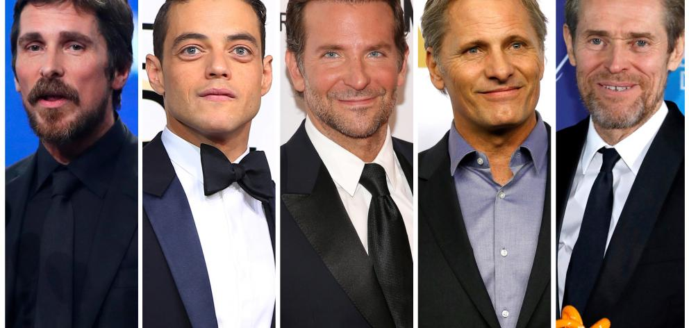 Best actor Oscar nominees for the 91st annual Academy Awards (L-R) Bale, Malek, Cooper, Mortensen and Dafoe. Photo: Reuters