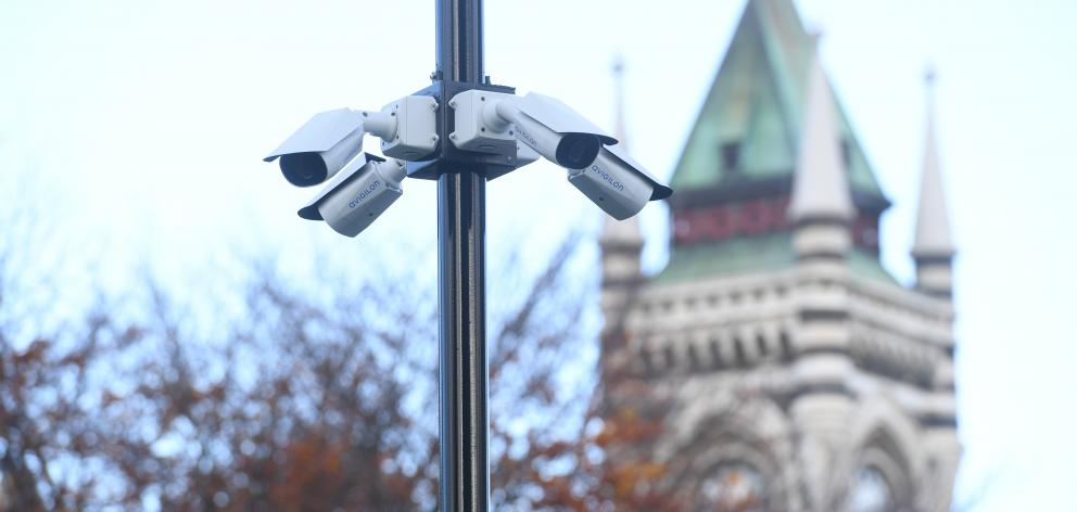 A cluster of CCTV cameras at the University of Otago. Photo: Stephen Jaquiery