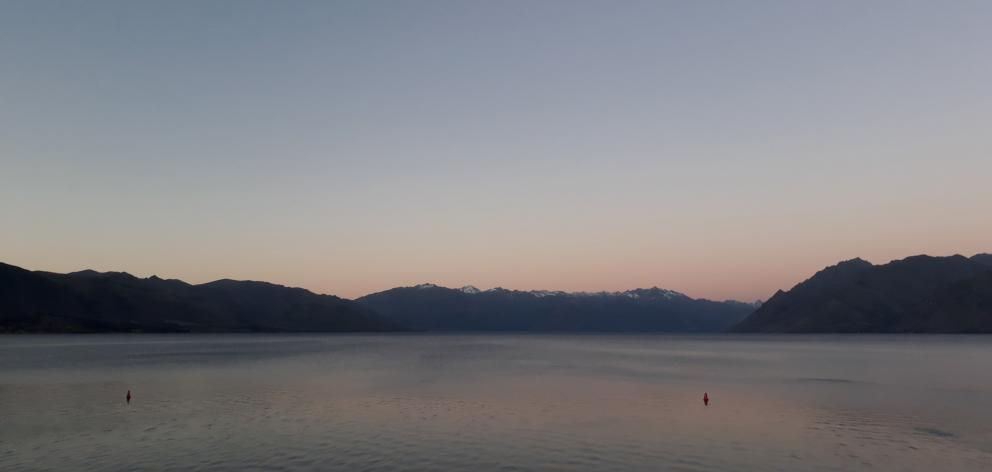Lake Hawea at sunset.