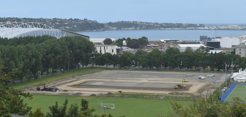 A deal between the Dunedin City Council and Football South will result in more football action on artificial playing surfaces under construction at Logan Park. Photo: Gregor Richardson