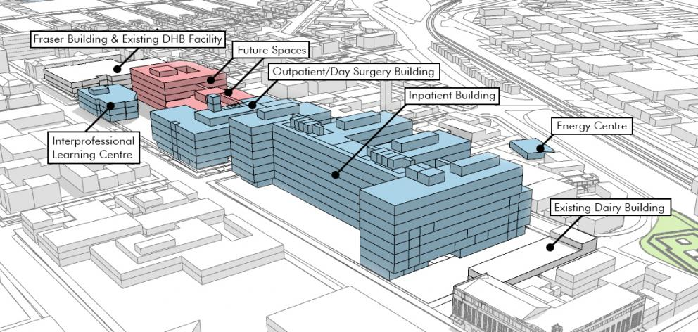 An illustration of the likely layout of the new Dunedin hospital. Image: Supplied