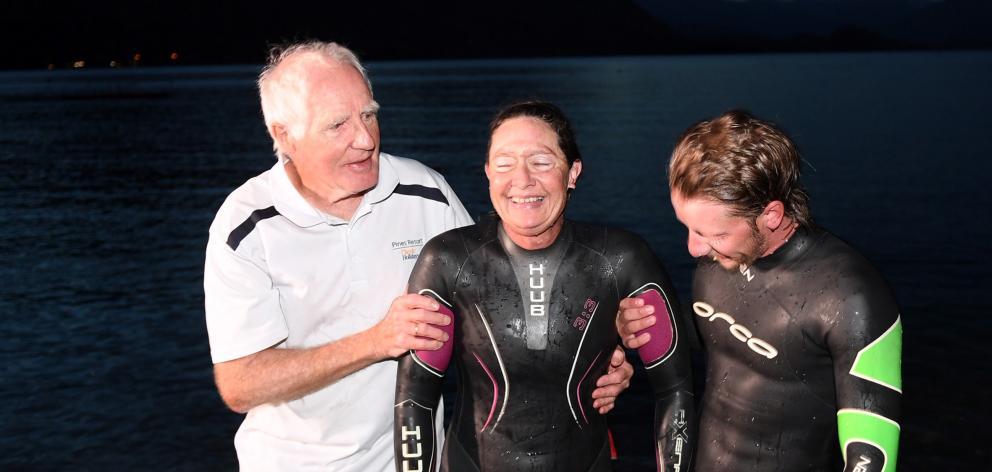 Wanaka swimmer Fiona Fairbairn is supported by her father, David Strang, and son, Finn Fairbairn,...