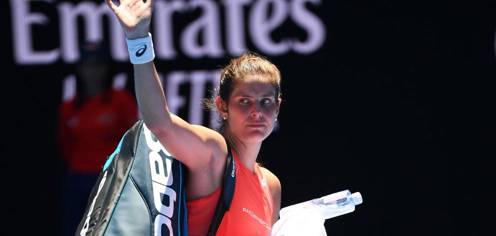 Julia Goerges of Germany leaves the court following defeat in her first round match against Danielle Collins. Photo: Getty Images