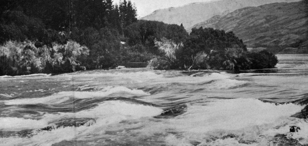 Kawarau Falls, the only outlet of Lake Wakatipu. — Otago Witness, 1.1.1919.