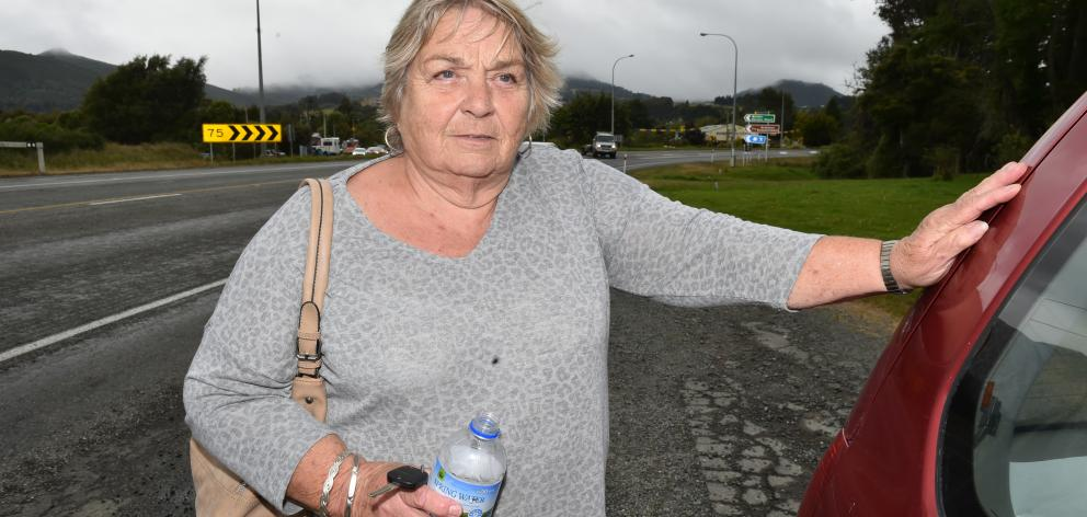 Lynne Holden, who had a near miss on State Highway 1 near Waitati yesterday afternoon.