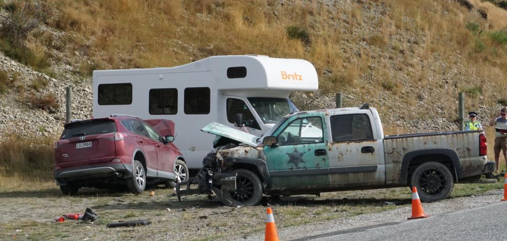 The wreckage of two vehicles after a head-on collision on Cardrona Valley Rd yesterday. Photo: Sean Nugent