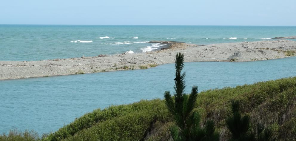 The Waitaki River mouth at Glenavy, where a man and his son became stranded while fishing...