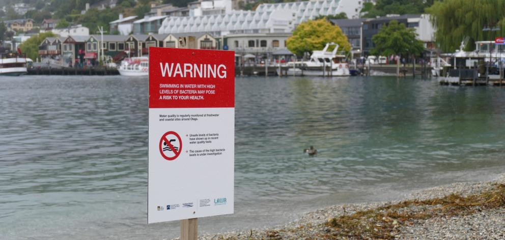 Signs installed by the Queenstown Lakes District Council yesterday at Queenstown Bay urge people...