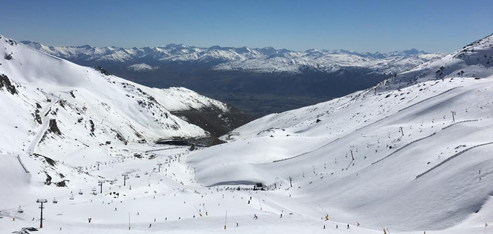 The Remarkables skifield near Queenstown. The Sugar Bowl lift is shown climbing the mountain on the right. Photo: Joshua Walton