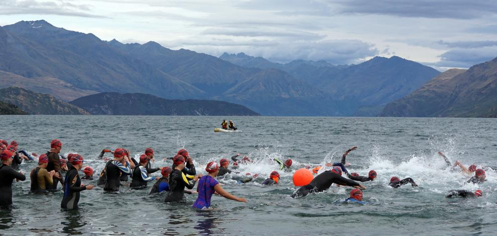 Some were quicker than others at getting off the mark at the start of the 2.5km Ruby swim race....