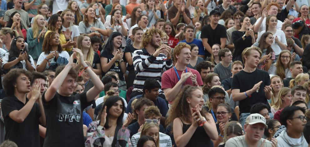 OUSA 2019 president James Heath speaks to a crowd of about 4000 at the convocation ceremony at...