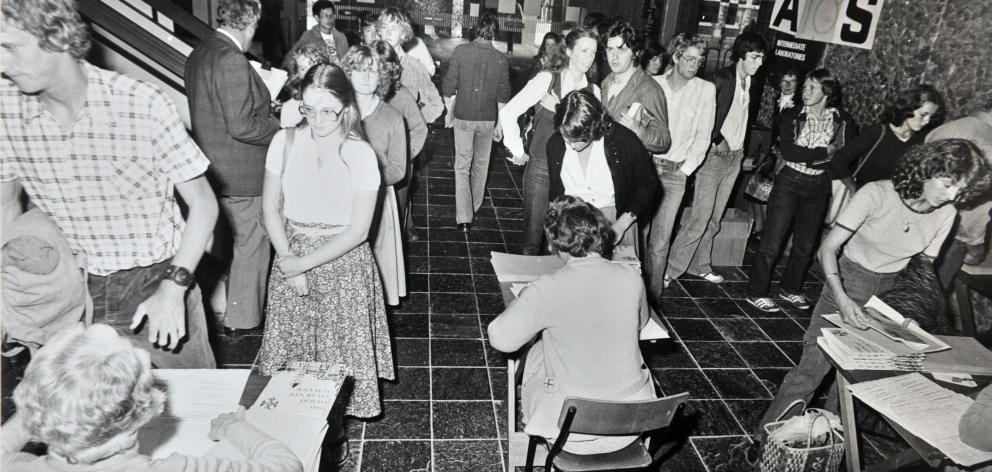 Students line up for enrolment at the start of the 1980 academic year. PHOTO: ODT FILES