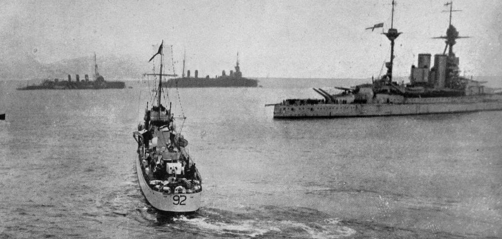 His Majesty, King George V was on board the vessel in the foreground as it approached the British...