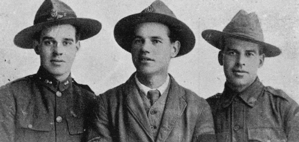 Three brothers from Lawrence who met recently in London. From left: Gunner R. L. Anderson, 14th Reinforcements; Sergt J. H. Anderson, 17th Reinforcements; Signaller G. L. Anderson, Australian Imperial Force. They are the sons of Mr and Mrs Walter Anderson