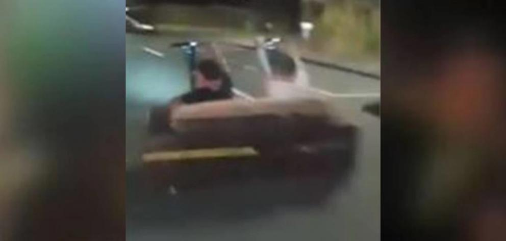 A group of lads from Stokes Valley have gone viral after they slapped a couch onto two Lime Scooters and took it for a drift ride. Photo: Facebook via NZ Herald