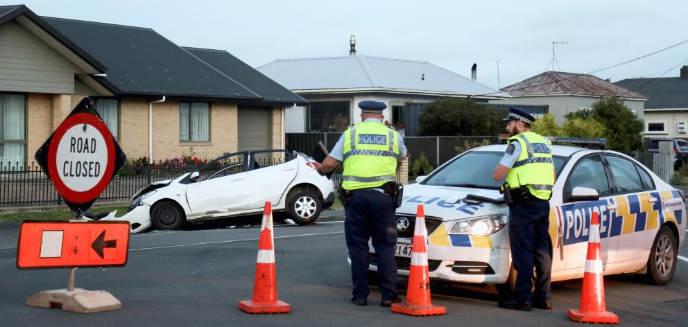 A 91-year-old Oamaru woman was extricated from her car after a two-vehicle crash last night. Photo: Rebecca Ryan