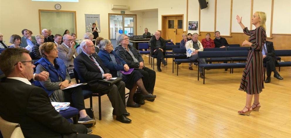 National education spokeswoman Nikki Kaye addresses a public meeting on the future of education in Dunedin last night. Photo: Linda Robertson