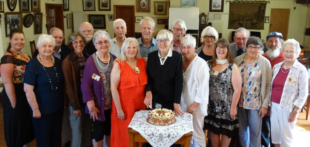 North Otago Early Settlers Association president Helen Stead (front middle), surrounded by...