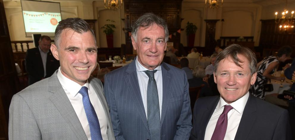 Attending a lunch at the Savoy in Dunedin to mark the banks's 150th anniversary are (from left)...