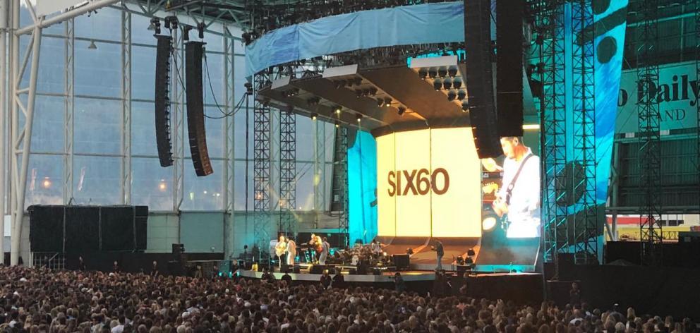 Six60 perform at Forsyth Barr Stadium. Photo: Debbie Porteous
