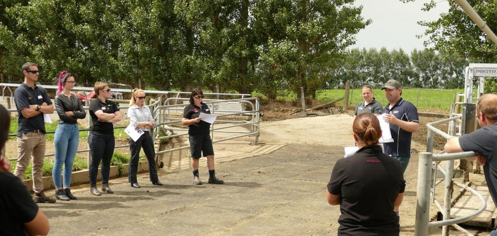 Otautau farmer Nick Thomsett discusses how cow monitoring has helped him improve the management of his herd. Photo: Ken Muir