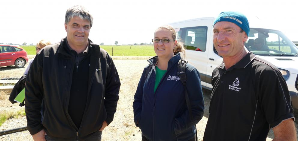 Speakers at the Southern Dairy Hub field day were, from left, Dairy NZ's Richard Kyte, Environment Southland's Anastacia Raymond and Nathan Cruikshank. Photos: Ken Muir