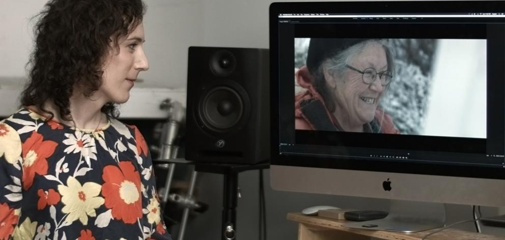Film director Miranda Bellamy edits a scene of her documentary In Plain Air in Canada last month. On the screen, her mother, Pauline Bellamy — the subject of the film. Photo: Supplied