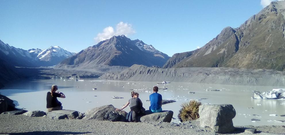 At the base of the Tasman Glacier global warming was happening right in front of us.