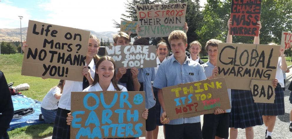 Cromwell College pupils take climate change strike action last month. PHOTO: CROMWELL COLLEGE