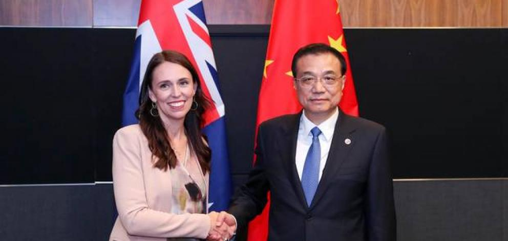 Jacinda Ardern and Chinese Premier Li Keqiang at the Asean Summit in November in Singapore. Photo: ASEAN