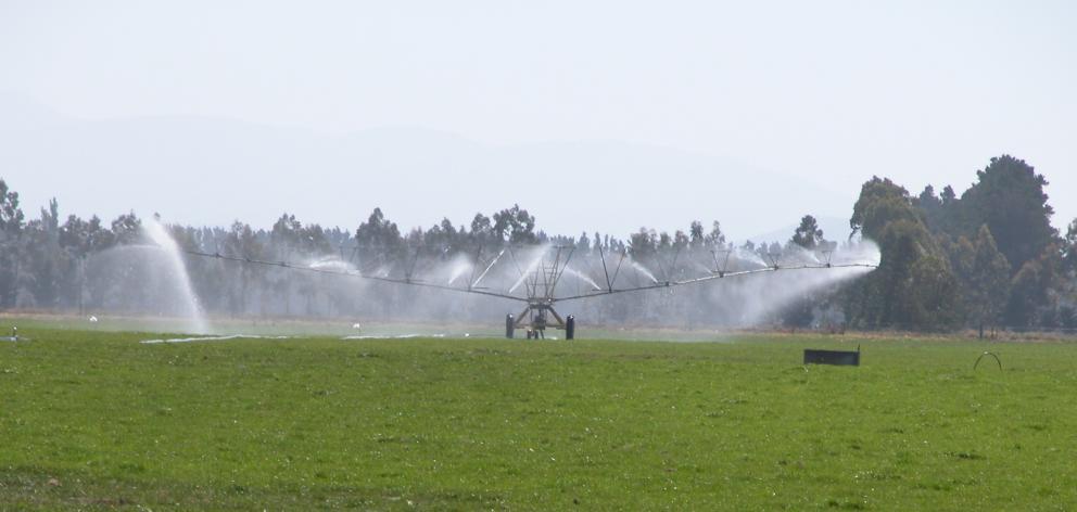 Travelling irrigator on the Waitaki Plains. Photo: ODT files