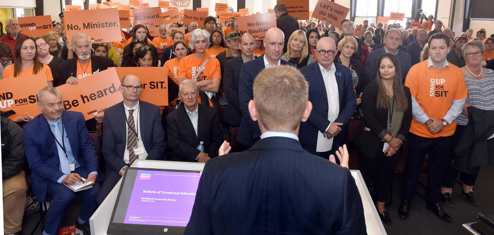 Education Minister Chris Hipkins addresses a public meeting in Invercargill yesterday about the...
