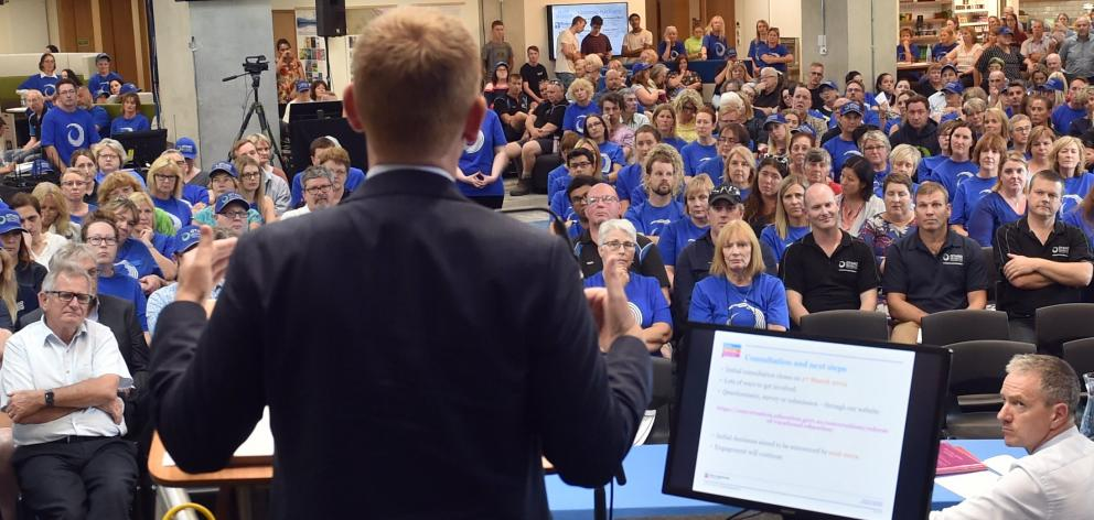 Education Minister Chris Hipkins addresses Otago Polytechnic staff during meetings in the city earlier this month. Photo: Peter McIntosh