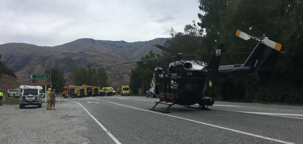Emergency services at the scene of a head-on crash near Gibbston today. Photo: Tracey Roxburgh