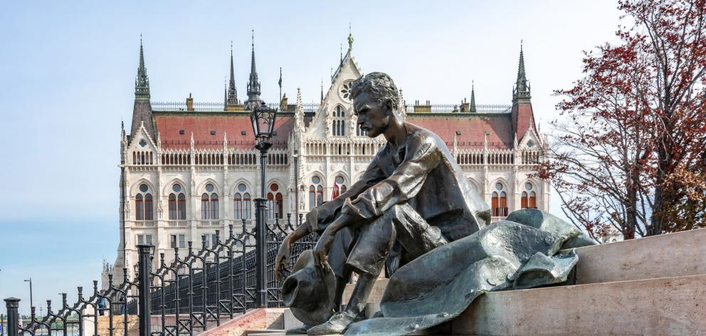 A bronze statue of Hungarian poet Jozsef Attila on the banks of the Danube River.