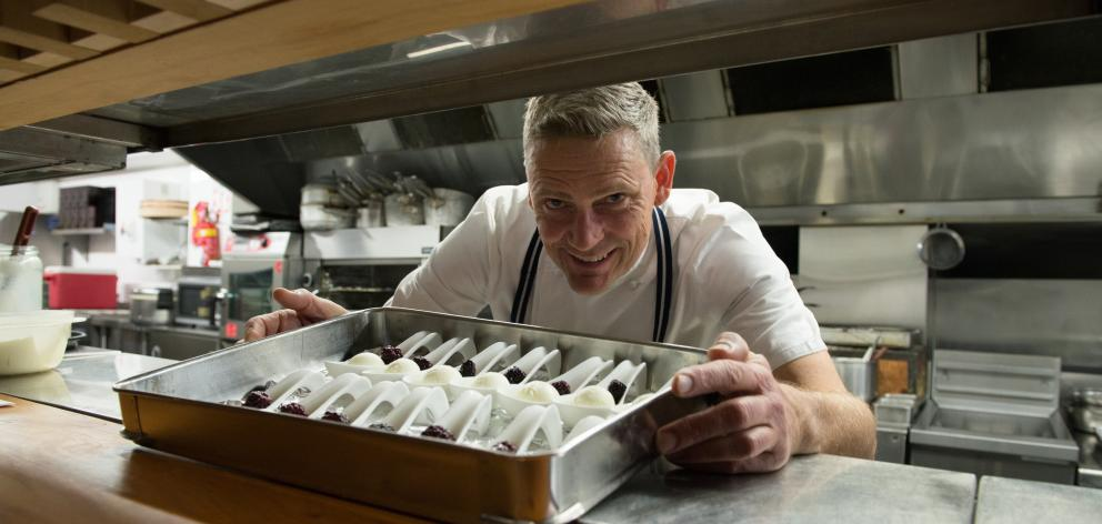 Chef Geoff Scott shows off Pamu's deer milk ice cream with raspberries. Photos: Supplied