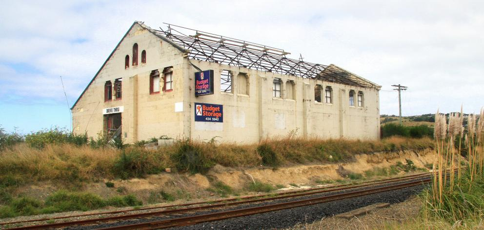 The old gasworks building in Humber St, Oamaru, where erosion has exposed historic contamination....