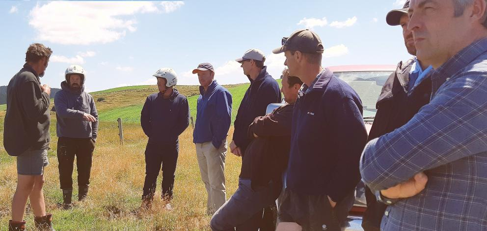 AbacusBio consultant Simon Glennie (far right) at a Red Meat Profit Partnership Action Group meeting in South Otago. PHOTO: SUPPLIED