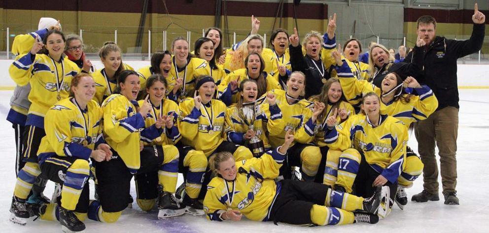 Southern Storm celebrate victory in the National Women's Ice Hockey at the Dunedin Ice Stadium on Sunday. Photo: Tim Bryant