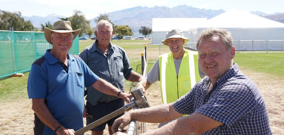 The Wanaka A&P Show begins at the end of the week, and preparations are already well under way. Taking a break from nailing down the fences are (from left) Bruce Kewish, Ken McLeod, Mike Elliot and Doug Stalker. Photo: Sean Nugent