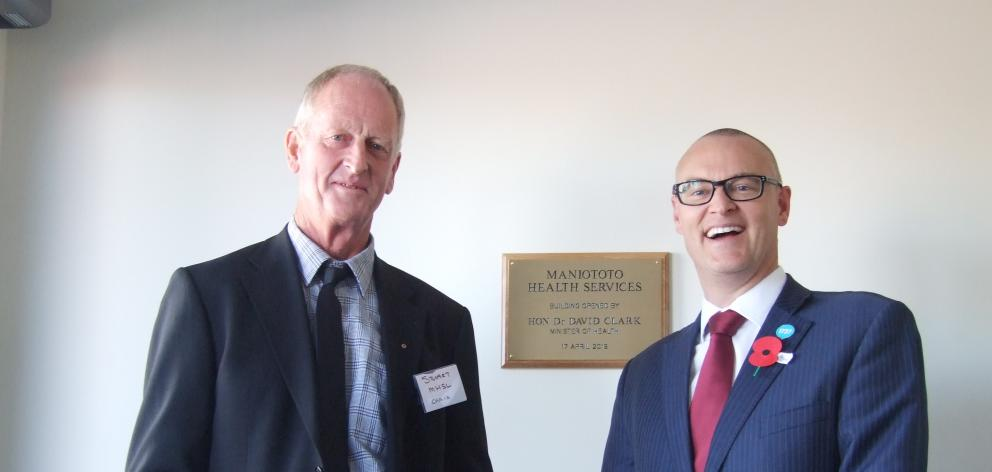 Maniototo Health Services Ltd chairman Stuart Paterson (left) and Health Minister David Clark at...