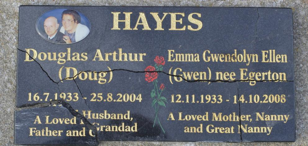 The plaque remembering Doug and Emma Hayes.