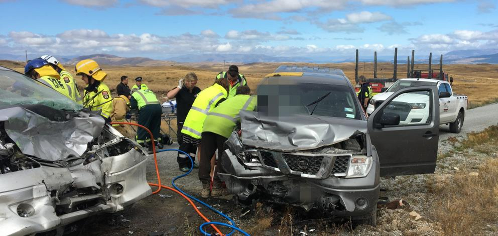 Emergency services attend the two-vehicle crash in Braemar Rd, Tekapo, last month. Photo: Supplied