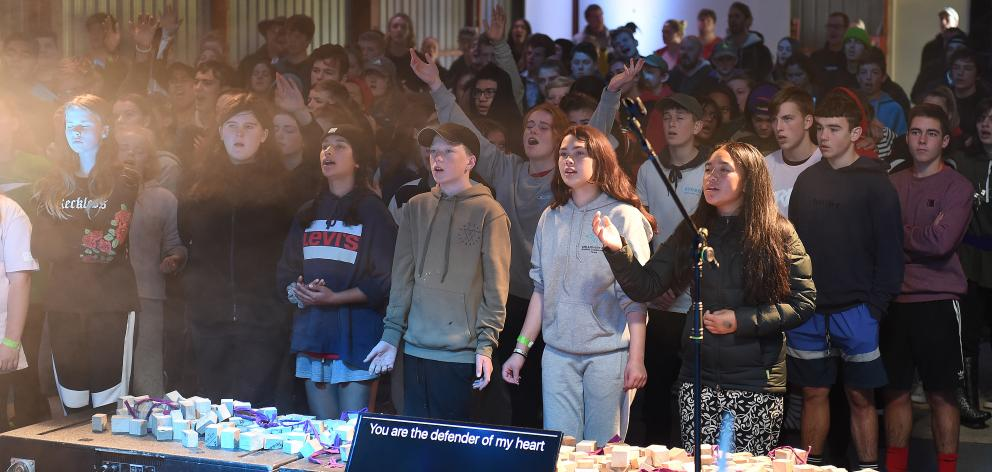 Young people attended a service at an Easter Christian youth camp at the Taieri A&P Showgrounds...