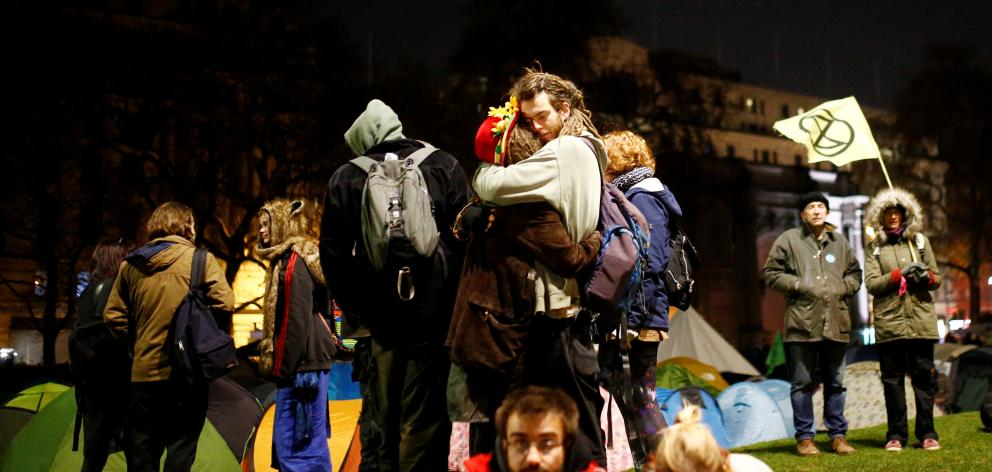 Climate change activists camp at the Marble Arch during a Extinction Rebellion protest in London. Photo: Reuters