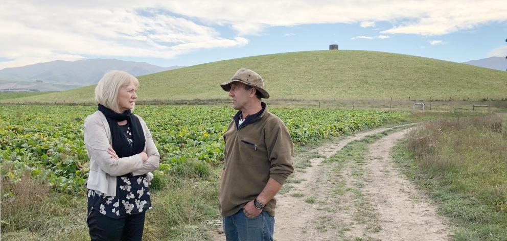 Hakataramea Valley farmer Graham Hay outlines the impact of Mycoplasma bovis to Waitaki MP Jacqui...