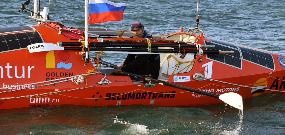 Russian adventurer Fedor Konyukhov is about three-quarters of the way through his rowing journey from Dunedin to Cape Horn, Chile. Photo: Stephen Jaquiery